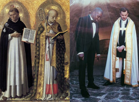 LEFT_Perugia_Altarpiece_left_panel by Fra Angelico_1437_RIGHT_Kanye West_Pastor_Rich Wilkerson_Jr_at_Kim_&_Kanye_wedding. May 24, 2014 Florence_Italy