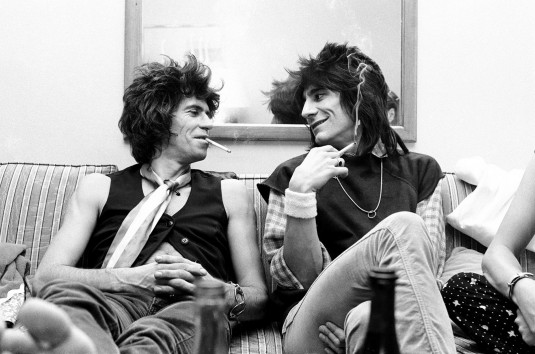 Rolling Stones Keith and Ronnie Michael Putland-crop