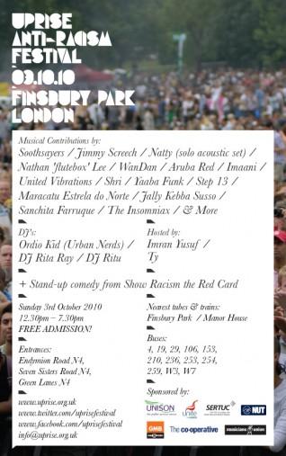 UpRise Anti-Racism Festival :: Sunday 3rd October 2010