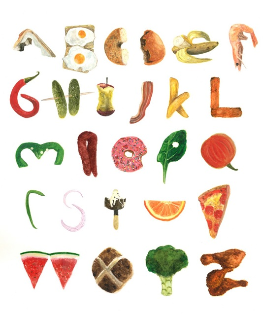 Kitchen Poster Food As Alphabet With Food Name: Lucy Wragg :: New Food Typography
