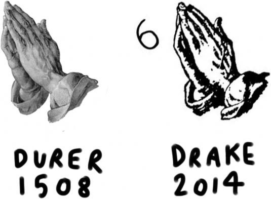 LEFT_A_Durer_Praying-hands_(removed-from-background)-1508_RIGHT_Drake-6-artwork_2014-15