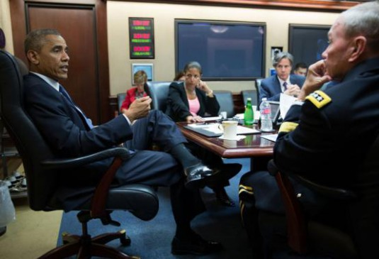 Handout photo shows U.S. President Obama meeting with his National Security team at the White House in Washington